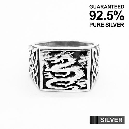 925 Sterling Silver Square Signet Celtic Dragon Ring / Solid / Oxidised