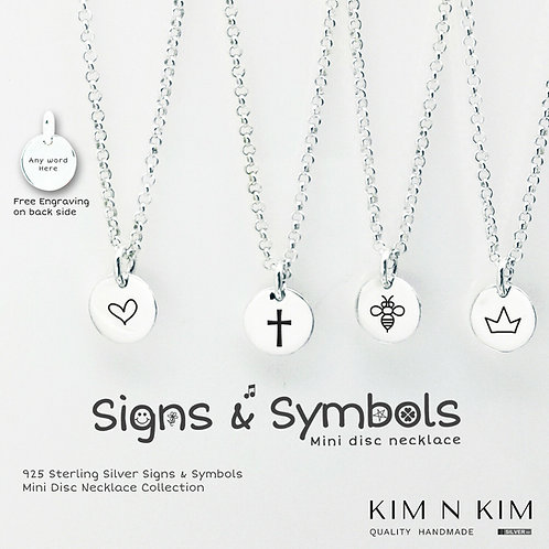 Signs & Symbols Mini Disc Coin Necklace Personalised Gift for Kid Children Girl