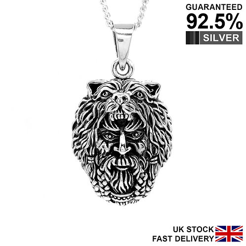 925 Sterling Silver Viking God Odin Wolf Head Celtic Pendant Necklace