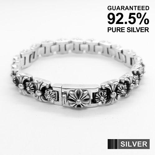 925 Sterling Silver Multi Cross Pattern Bracelet / Quality / Solid / Heavy