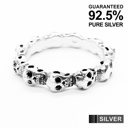 925 Sterling Silver 3D Multi Skull Heads Band Ring / Solid / Oxidised
