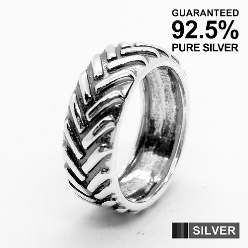 925 Sterling Silver Men's Tyre Tread Band Ring(9mm) / Solid / Oxidised