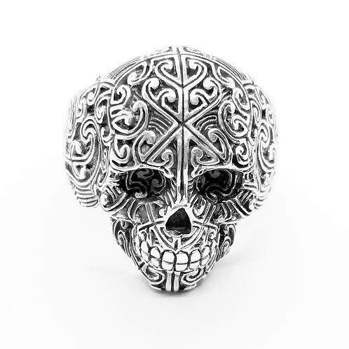 Filigree Skull Head Ring / 925 Sterling Silver, Blackened, Solid