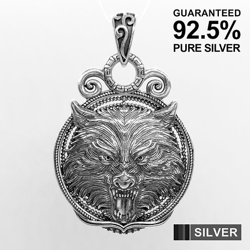 925 Sterling Silver Large Double Sided Wolf Head Medal Pendant / Solid / Heavy