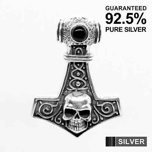 925 Sterling Silver Skull Head Thor's Hammer with Onyx Pendant / Solid/Oxidised