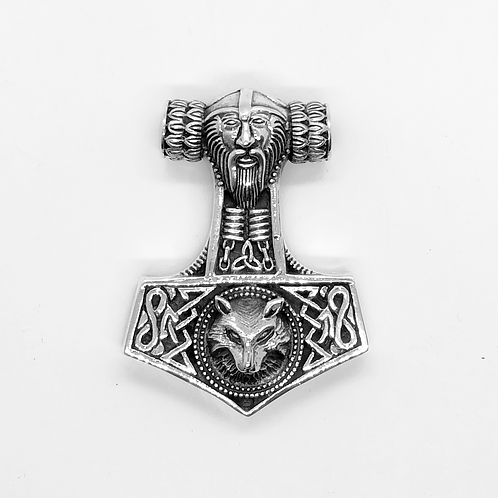 Wolf Thor's Hammer Mjolnir Odins Norse Pendant / 925 Sterling Silver, Blackened