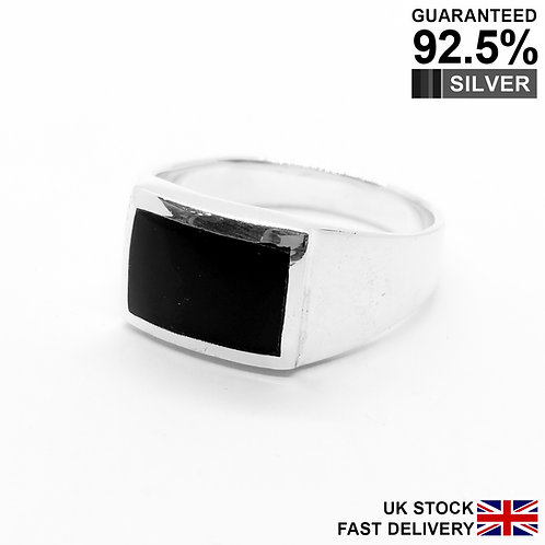 925 Silver Black Onyx Gemstone Rectangular Signet Ring / Quality / Comfort Fit