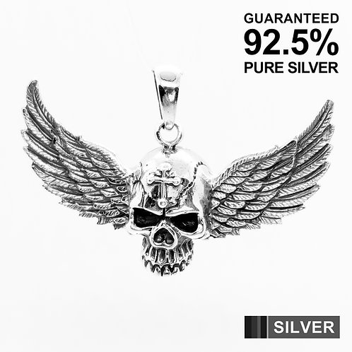 925 Sterling Silver 3D Skull with Large Wing Pendant / Solid / Quality