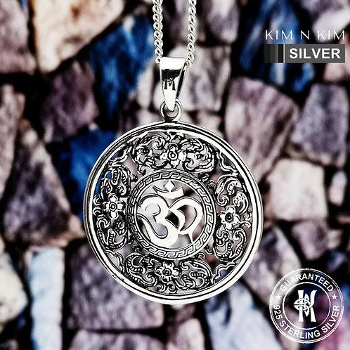 Flower & Om Pendant Necklace / Hindu Symbol / Aum / Solid 925 Sterling Silver