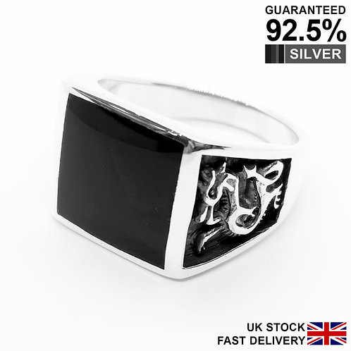 925 Sterling Silver Black Onyx Gemstone Dragon Square Signet Ring / Quality