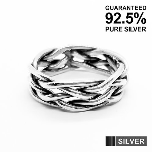 925 Sterling Silver Interwoven Braid Band Ring / Solid / Oxidised