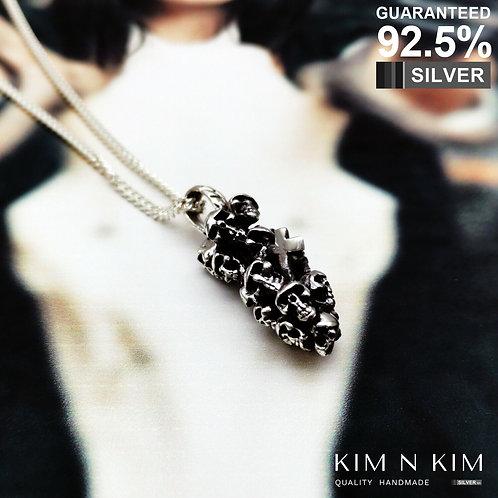 925 Sterling Silver 3D Heavy Skull Bullet Cross Pendant Necklace / Solid