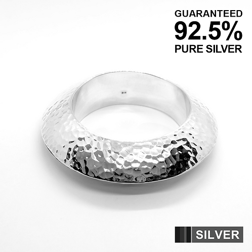 Women's Heavy HAMMERED Circle Slip-On Bangle / 925 Sterling Silver