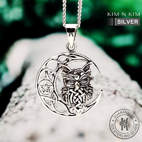Celtic Crescent Moon and Owl Pendant Necklace / Solid 925 Silver / Quality