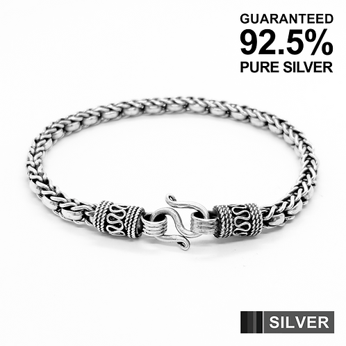 925 Sterling Silver Wheat Chain Link Bracelet /Solid /Oxidised