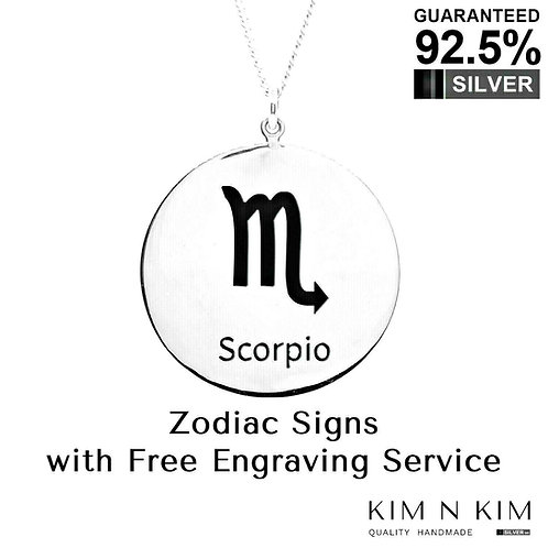 925 Sterling Silver Zodiac Necklace / Horoscope / Astrology / Free Engraving