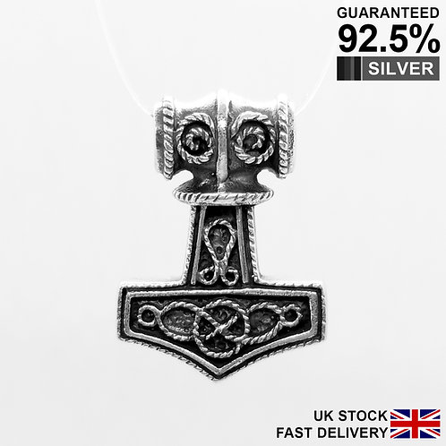 925 Sterling Silver Thor's Hammer Mjolnir Norse Viking Knot Pendant / Quality