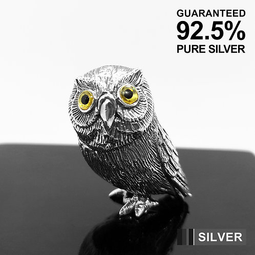 925 Sterling Silver Miniature Owl Animal Figurine / Solid / Quality