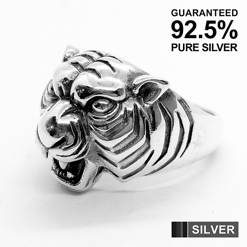925 Sterling Silver 3D Tiger's Head Ring / Solid / Oxidised
