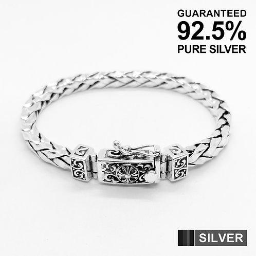 Sterling Silver Fleur De Lys Braided Bracelet / Quality / Solid / Secure clasp