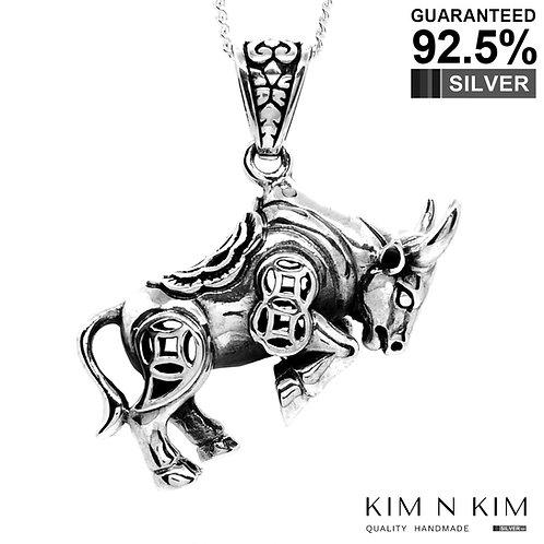 925 Sterling Silver Raging Bull Taurus Pendant/Solid/STAR SIGN HOROSCOPE