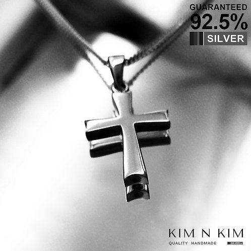 925 Sterling Silver Plain Thick Cross Pendant Necklace / Solid / Quality