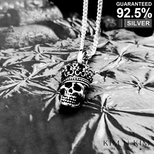 925 Sterling Silver King Skull Pendant Necklace / Solid / Quality