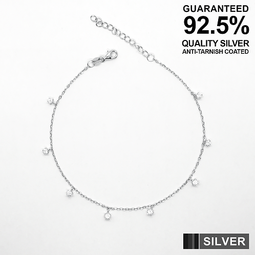 925 Silver Anklet with CZ Small Star Solitaires / Quality / Anti-Tarnish Coated