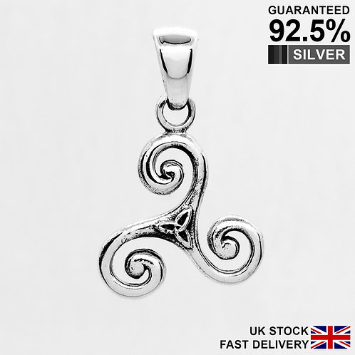 925 Sterling Silver Celtic Knot Pagan Triskele Trinity Triquetra Pendant