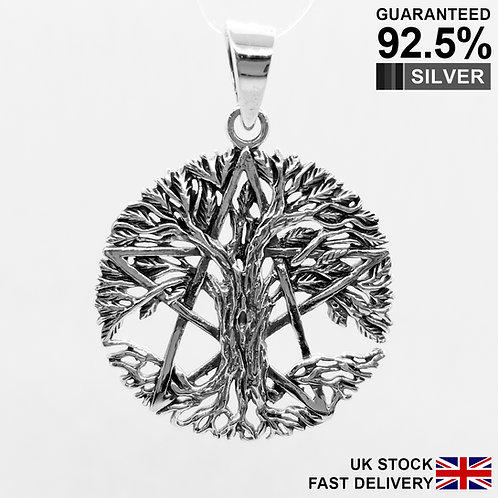 925 Silver Wicca Tree of Life Pentagram Pentacles Pendant / Solid / Quality