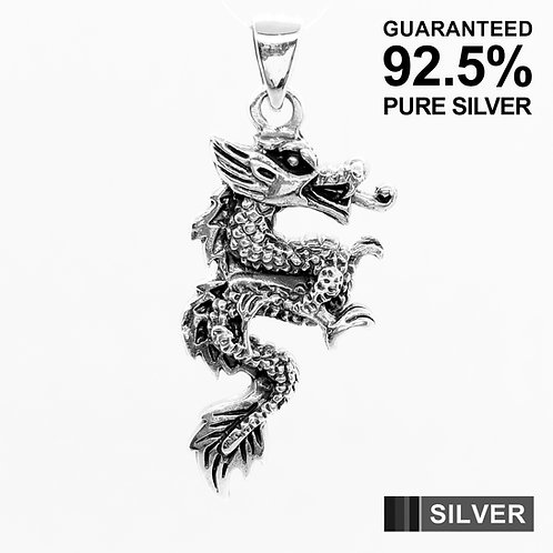 925 Sterling Silver Chinese Dragon Pendant Necklace / Solid / Quality
