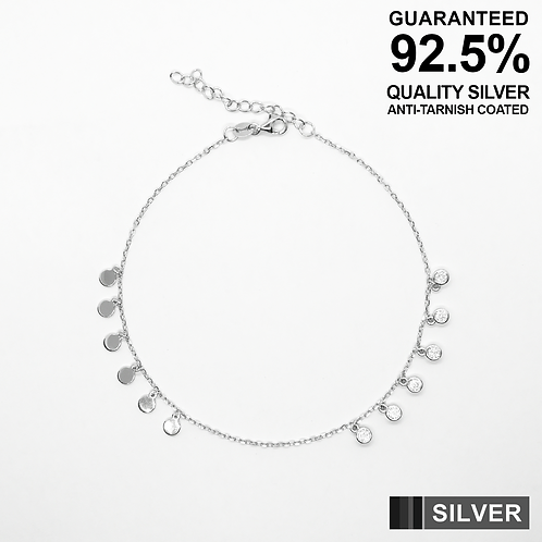 925 Silver Anklet with small coins and round CZ solitaires / Quality