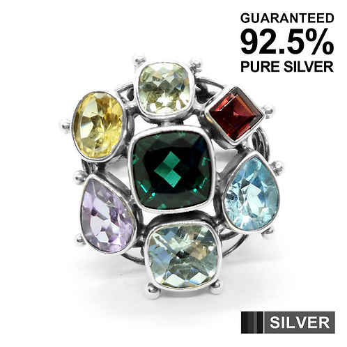 925 Sterling Silver Women's Multi Gemstone Ring / Quality / Solid