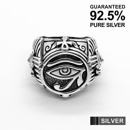 925 Sterling Silver Egyptian Eye of Horus, Pharaoh Ring / Quality / Solid