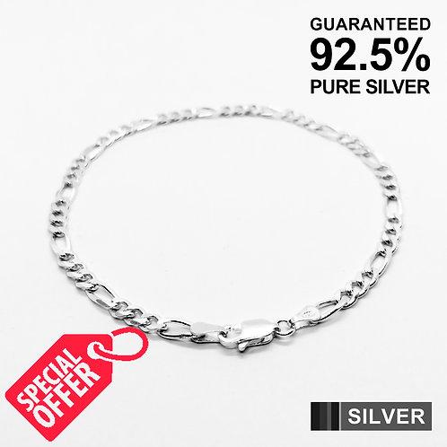 925 Sterling Silver Figaro Link Chain Bracelet /Solid