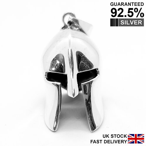 925 Silver 3D Roman Gladiator Greek Spartan Soldiers 300 Warrior Helmet Pendant