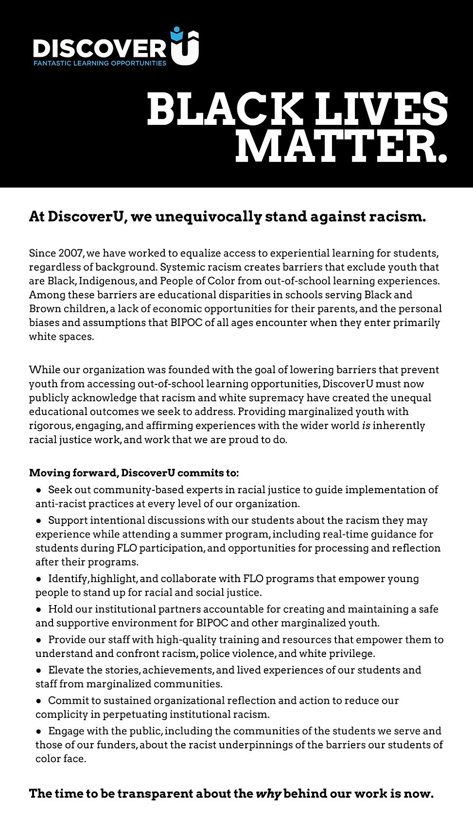 DiscoverU Racial Justice Statement 6.202