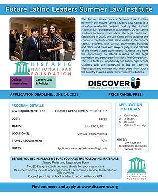 Future Latino Leaders Summer Law Institu