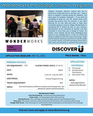 Wonderworks Pre-College Summer Programs.