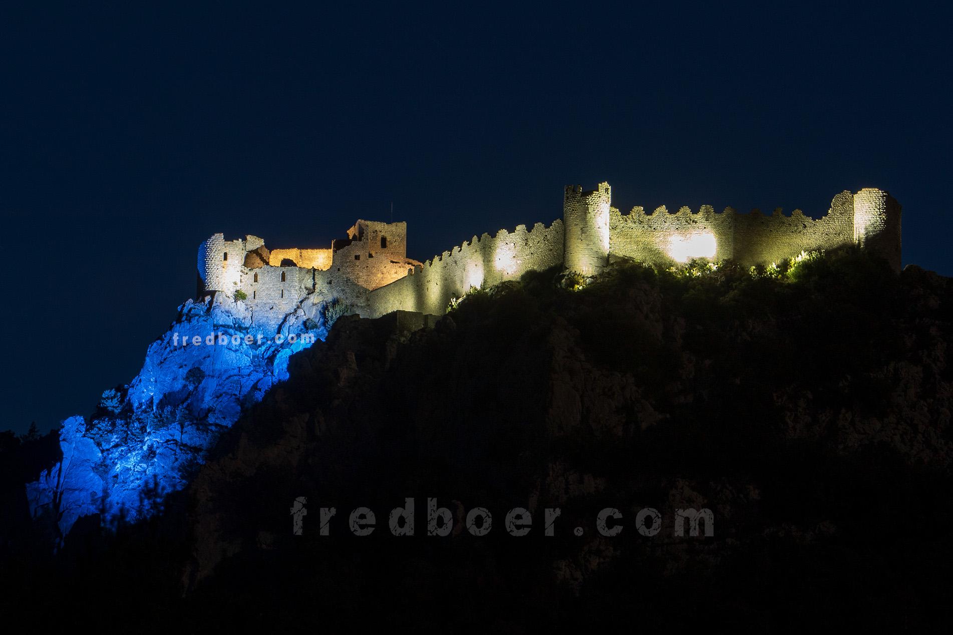 Chateau de Puilaurens de nuit