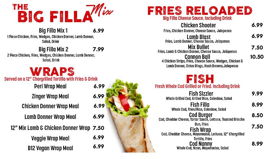 BIG FILLA MENUS_Wraps Loaded Fries & Fis