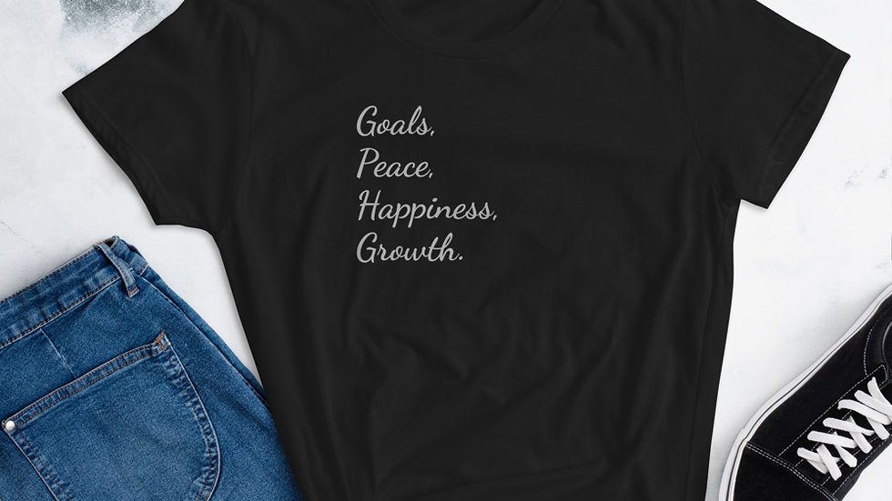 Goals, Peace, Happiness, Growth Women's short sleeve t-shirt - black