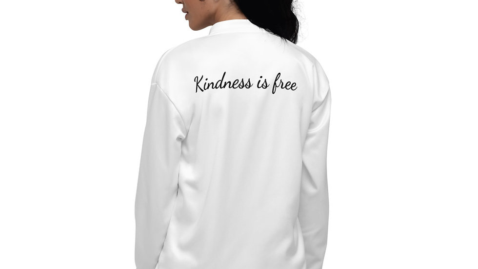 Kindness is free Bomber Jacket - White