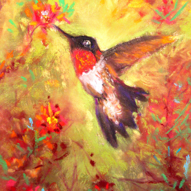 Rub-throated Hummingbird, 5x7,    Moraws