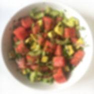 Watermelon Cilantro Avocado Salad