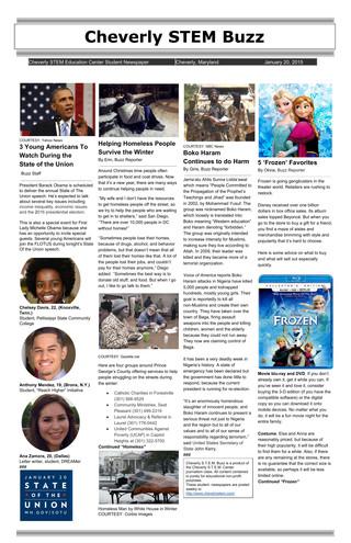 01/20/15: Cheverly STEM Buzz (Newspaper)