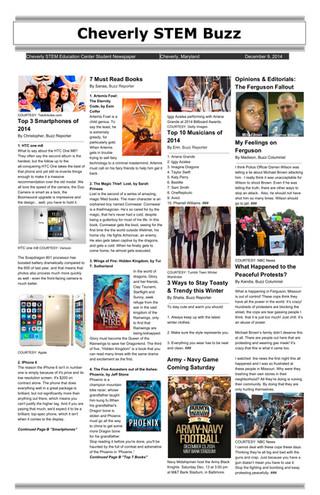 12/09/14: Cheverly STEM Buzz (Newspaper & Podcast)