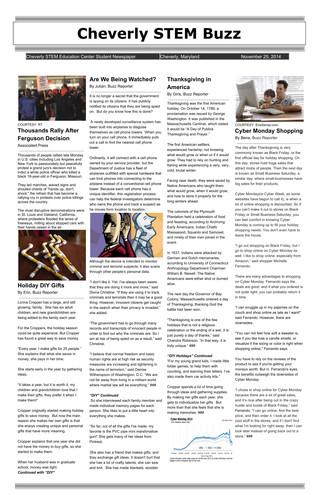11/25/14: Cheverly STEM Buzz (Newspaper)