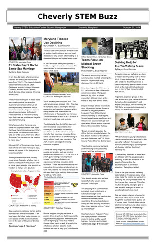 10/21/14: Cheverly STEM Buzz (Newspaper)