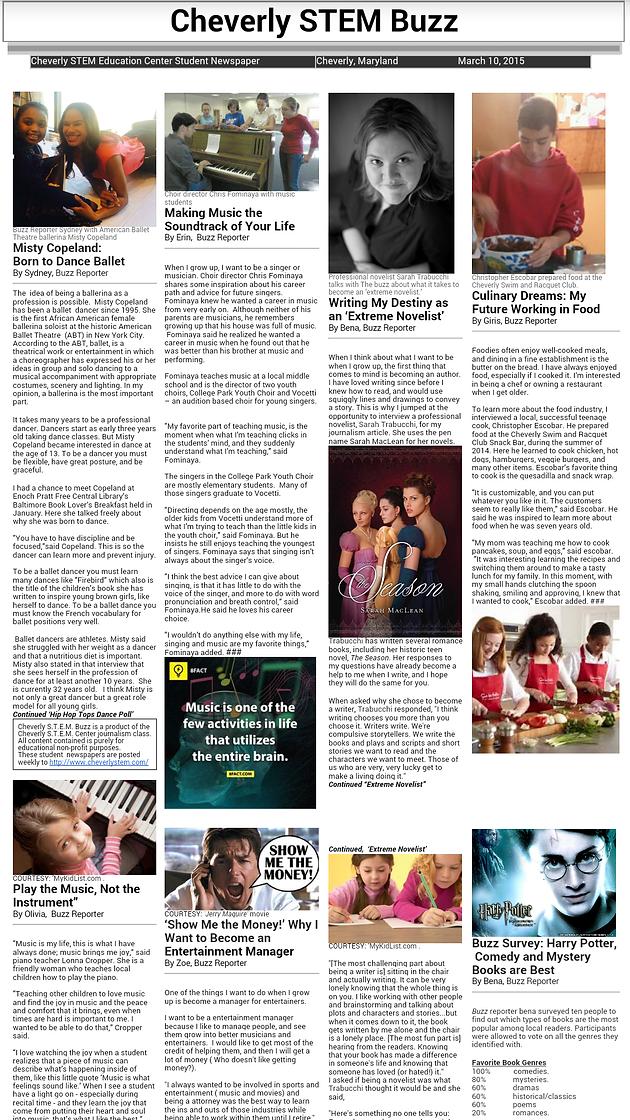 03/10/15 : The Cheverly STEM Buzz (Newspaper) | Cheverly STEM